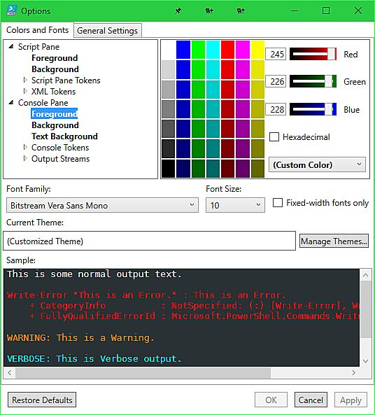 ISE Color Options