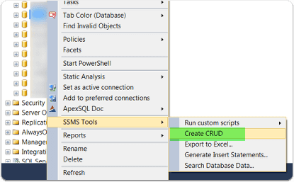 create CRUD from context menu for entire database