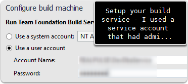 Setup build service account