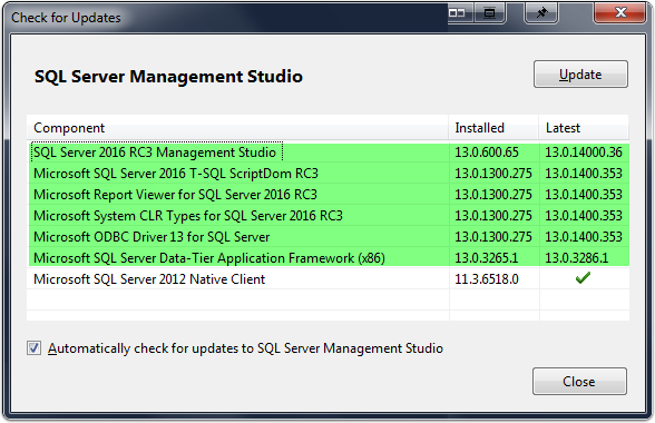 Updates applied seperately from sql service packs